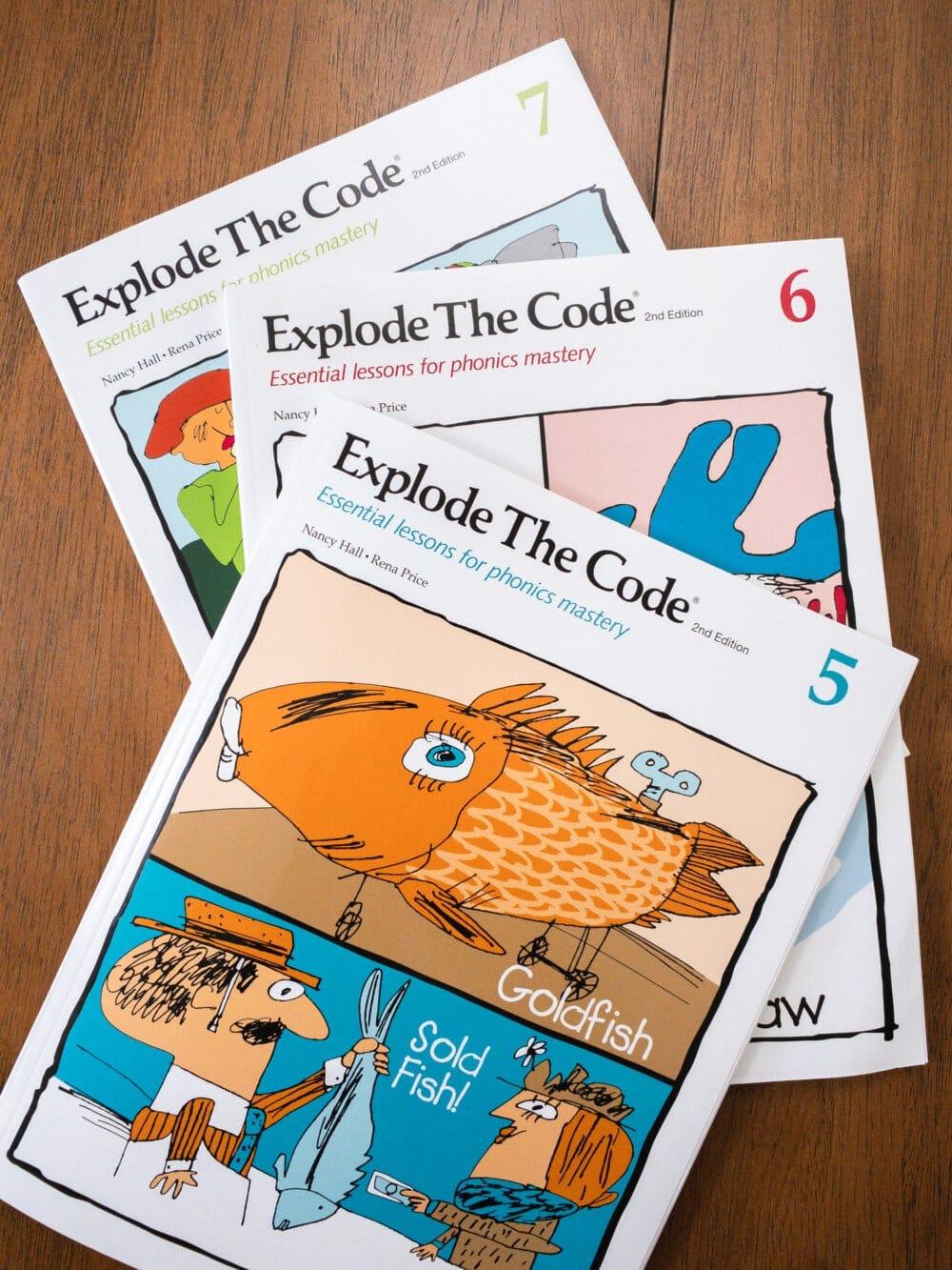 explode the code 4th grade language arts homeschool curriculum sitting on a desk