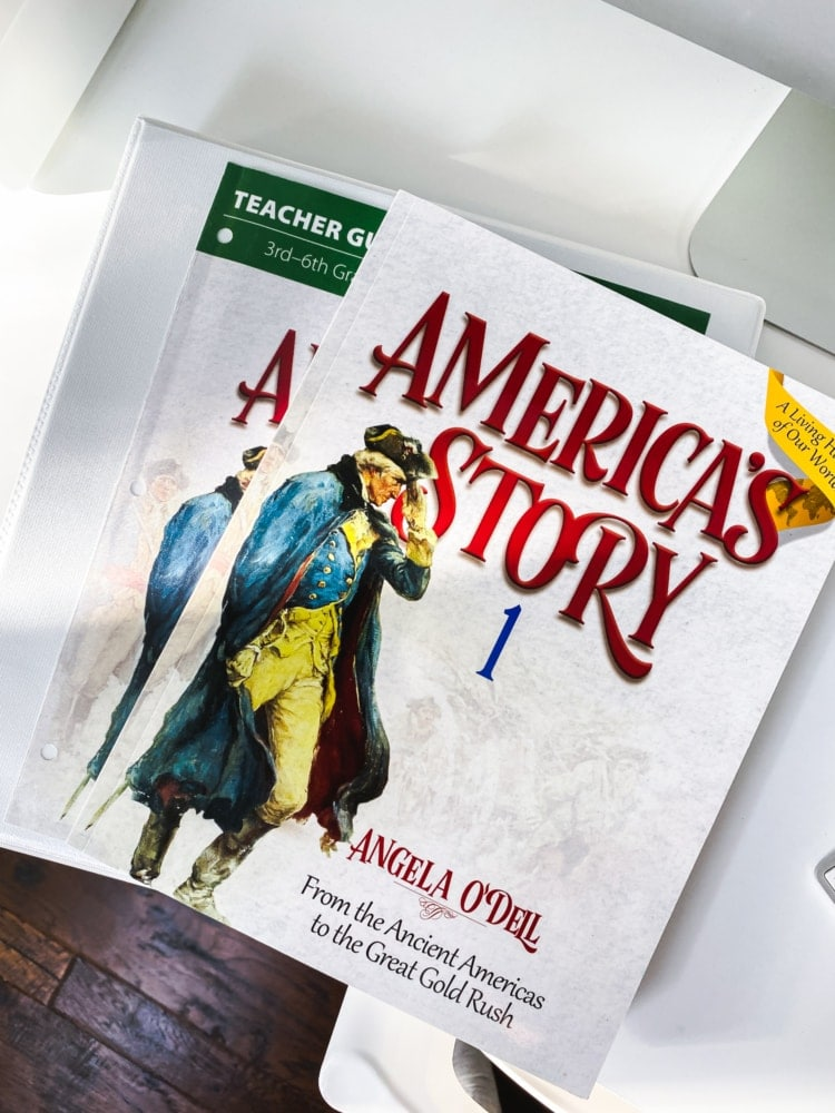 top view of books for america's story 1