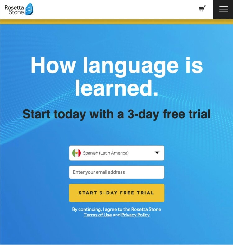 a screen capture of the rosetta stone website