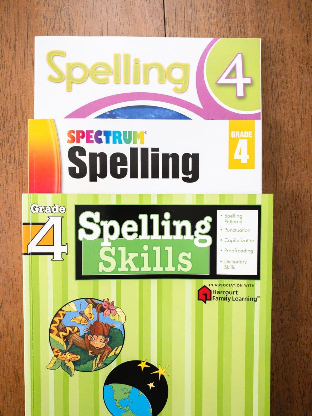 4th grade spelling workbooks sitting on a desk