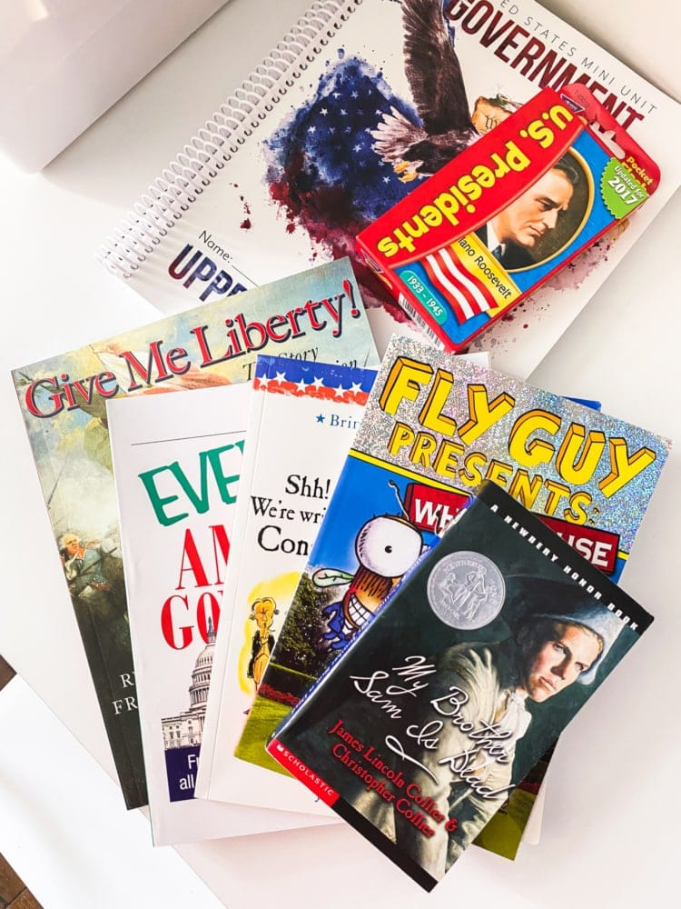 top view of a group of american government books
