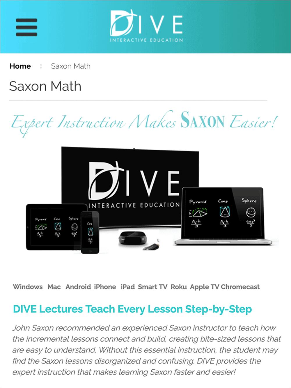 dive interactive education lessons for saxon math