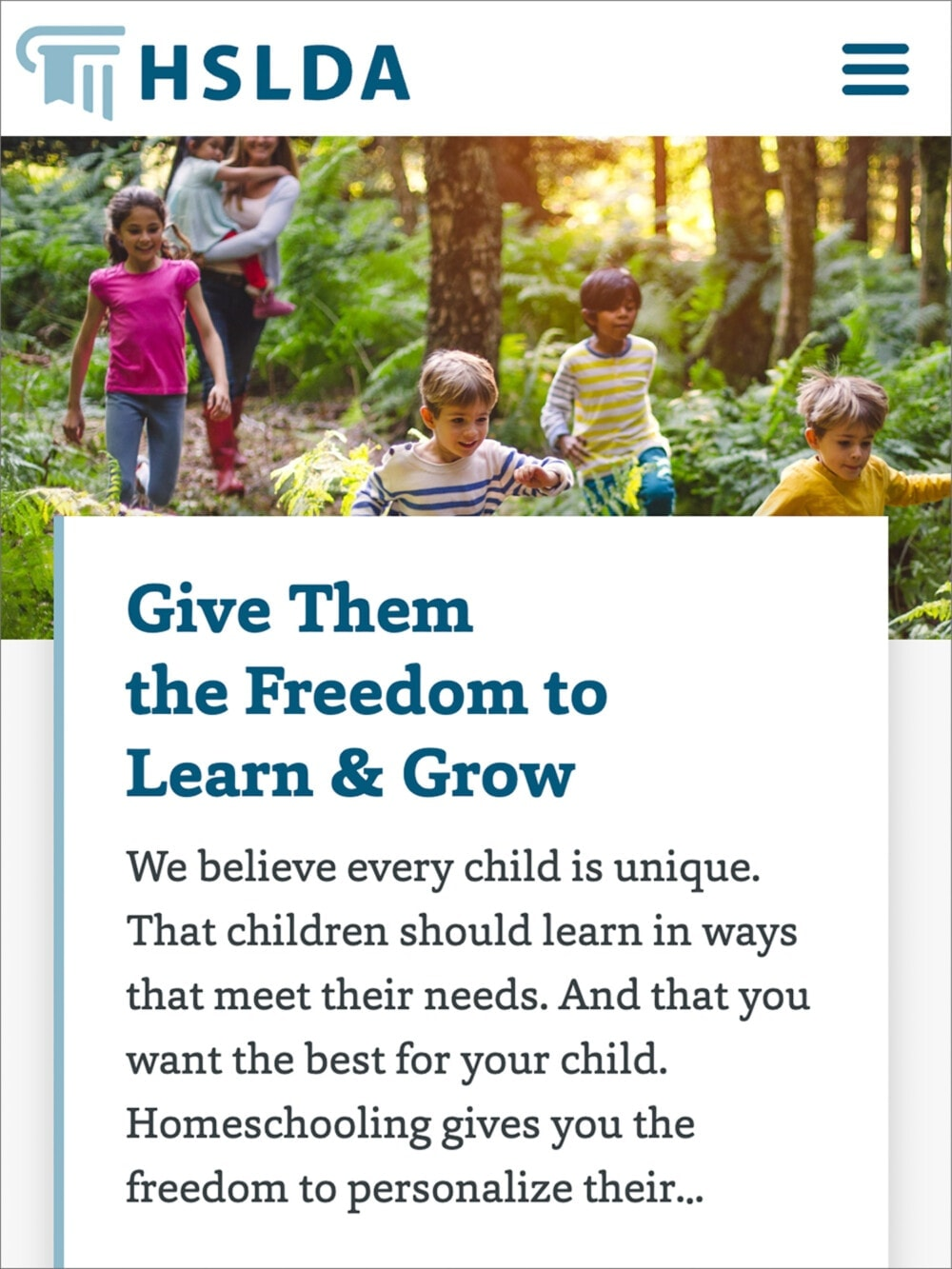 a screen capture of the Home School Legal Defense Association website
