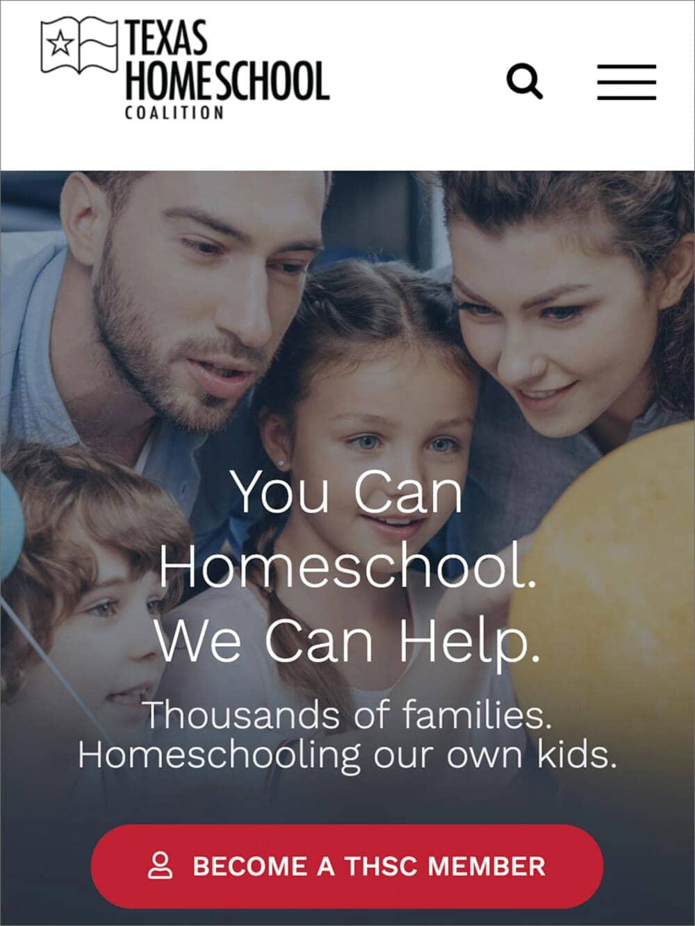 a screen capture of the texas homeschool coalition website